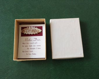 Vintage Mother Pin on Mother of Pearl Leaf Design in Original Box With Poem