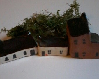 Handmade cottages, tiny houses, small houses, miniature village, dancingharepottery, folk art, ceramic houses, handmade, one of a kind,ooak