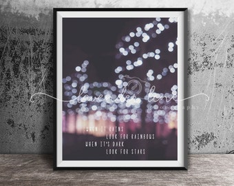 LOOK FOR STARS, Colour Photography Print, Typography, Nature, Enchanted Garden, Lights, Inspiration, Motivation, Wanderlust, Home Decor