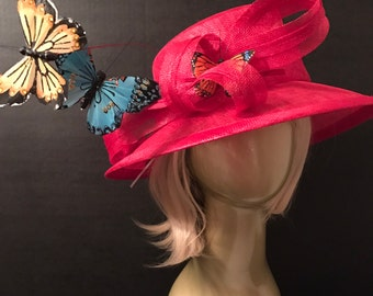 Butterfly Kentucky Derby Hat, Church hat, Tea Party Hat, Red Hat, Formal Hat, Fashion Hat, Church Hat, Derby Hat, wedding hat, funeral hat