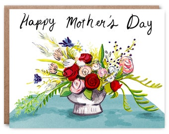 Mother's Day Card, Happy Mother's Day, hand painted - Illustrated blank card, 4.25x5.5""