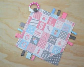 Taggie, Crinkle Sound, Sensory, Activity, Teething, Minky Blanket- Baby Girl Blocks