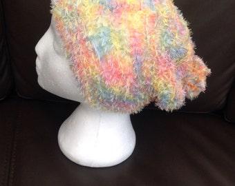Ladies Soft, Fluffy Rainbow Slouchy Hat with Pompom