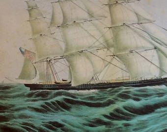Currier and Ives, Ships, Clipper Ship Print, Water Scene, America, Sailing Print, Historical Print, Sea Print,Retro Print, Sweepstakes, Sea
