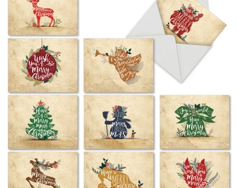 M6666XSB Holiday Knockout: 10 Assorted Blank Christmas Note Cards Featuring Christmas Words and Phrases on Holiday Icons, w/White Envelopes
