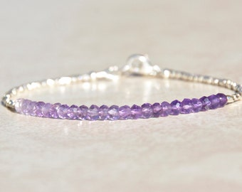 February Birthstone Bracelet, Shaded Amethyst, Gemstone Bracelet, Karen Hill Tribe Silver, Bead Bracelet, Ombre, Birthday Gift For Her