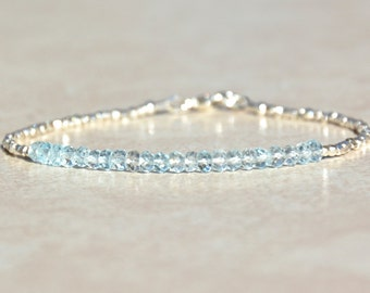 Aquamarine Bracelet, March Birthstone Bracelet, Gemstone Bracelet, Aquamarine Beaded Bracelet, Birthday Gift for Her, Hill Tribe Silver