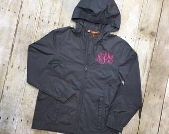 Girls Monogram Raincoat | Youth Monogram Rain Jacket | Childrens Monogram Rain Jacket | Girls Rain Jacket | Girls Raincoat