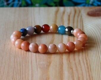 7 Chakra Bracelet with Aventurine, Wrist Mala Beads, Meditation Bracelet, Yoga Bracelet, Yoga Jewelry, Gemstone Beaded Bracelet, Handmade
