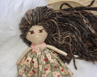 Sale! Tiny Nora, tiny doll, handmade doll, cloth doll, fabric doll , rag doll , doll