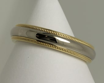 platinum 18ct yellow  2 colour millgrain  wedding ring /18ct yellow platinum millgrain 4mm 2 colour  wedding band / millgrain wedding ring /