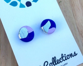 Earrings- studs lavender, royal blue, silver