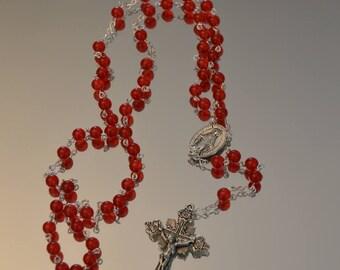 Catholic Rosary, Red Jade Rosary, Rosary, Rosaries, handmade