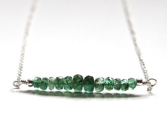 Zambian Emerald Necklace, Genuine Emerald Bar Necklace, 925 Sterling Silver, May Birthstone Jewelry, Bridesmaid Gift, Minimal Pendant