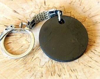 "Shungite KEYCHAIN ""Circle"" handmade protection and healing stone from Karelia"