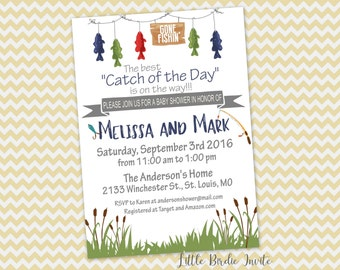 Amazing Gone Fishing Baby Shower Invitation, Catch Of The Day Baby Shower Invitation,  Printable Invitation