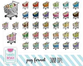 35 Doodle Grocery Cart Clipart. Shopping Cart. Personal and comercial use.