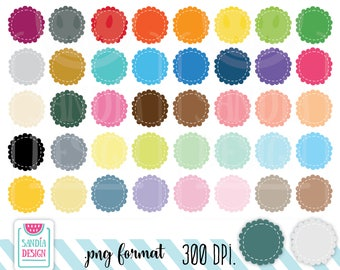 42 Stitched Circle Scallops Clipart. Personal and comercial use.