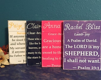 Child's Name Definition • Girls Nursery Room Sign • Pink Shabby Chic Decor • Kids Bible Verse Plaque • Baby Shower Gift • Scripture Wall Art