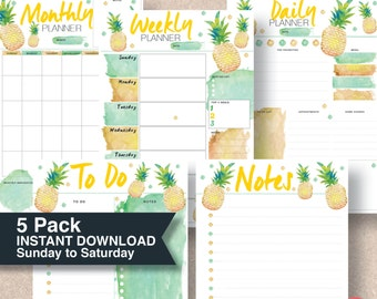 A5 2017 planner inserts. Last Minute Gift. Pineapple printable planner 5 pack includes: 4 sizes; A4, A5, Letter & Half Letter | #626