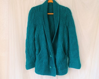 Vintage 80's Sweater, Bright Colored Sweater, Oversized Cardigan, Weaved Hand Knit Sweater, Women's Sweater, Men's Sweater, Grunge pullover