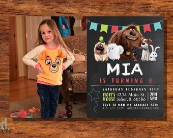 The Secret Life Of Pets Invitation - Kids Theme Birthday - Secret Life Of Pets Children's Party - FREE Shipping
