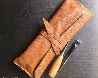 Handmade Cowhide Brown Leather Pen Pencil Case Pouch Bag Hand Stitched Very Soft