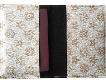 Handmade PVC White and Gold Passport Case Cover Wallet Holder