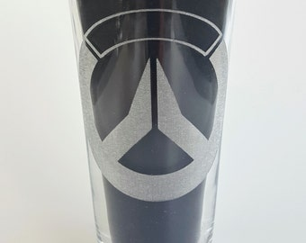 Etched Overwatch 16oz Pub Glass