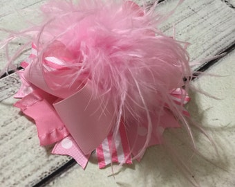 Pink Over The Top Hair Bows, OTT Hair Bows ,Over The Top Bows ,Pink Over The Top Headband , Girls Hair Bows, Baby Headband, Boutique Bows