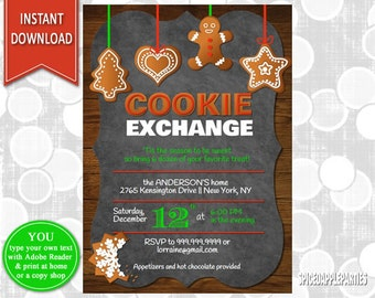 Cookie Exchange| Christmas Party, Cookie Swap, Christmas Invitation, Christmas Cookie, Holiday Party, Cookie Party, Cookie Decorating
