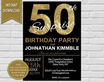 50th Surprise Birthday Invitation | 50th Birthday, Surprise Birthday, Adult birthday, Surprise Invitation, 50th, Surprise Printable