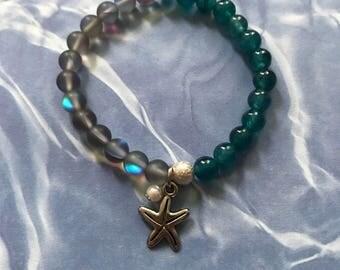 Mermaid Mala Bracelet-Sea Blue Moonlight Crystal & Sea Blue Jade