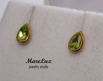 Rose Gold Plated Natural Peridot Earrings, 14K Gold Fill Silver Peridot Teardrop Earrings, Green Peridot Studs, Pear Cut 14K Gold Earrings