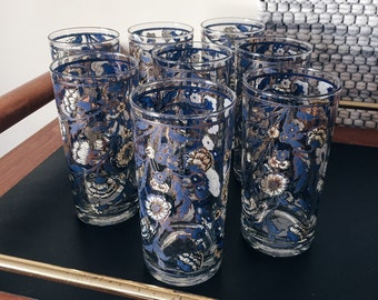 Set of 6 floral drinking glasses, blue white and gold floral drinking glasses, tall floral glassware