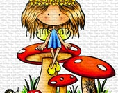 Peggy On Mushroom Digital Stamp by Sasayaki Glitter