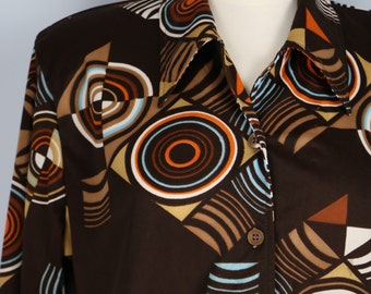 Funky 1970s Vintage Bold Graphic Patterned Long Sleeve Button Up Shirt Size Medium Large