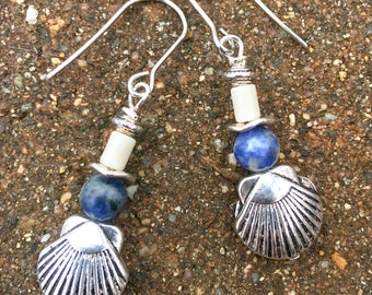 Seashell Earrings, Beach Earrings, Dangle Earrings, Earrings, Blue Earrings