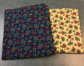 Christmas Fabric Floral. FQ. Cranston Fabric Christmas. Blue Christmas Fabric. Holly Christmas Fabric. Cranston Village Fabric