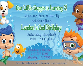 Bubble Guppie Birthday Party Invitation