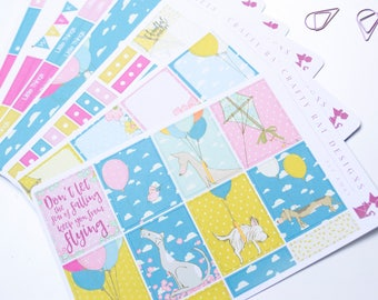 "Planner Stickers | ""Fly Away"" Kit, Erin Condren Weekly Kit, Kites, Dogs, Balloons, Clouds, Planning Kit, MAMBI Happy planner"