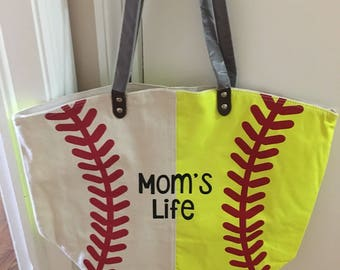 Baseball Softball Tote, Baseball Tote, Softball Tote, Combined Sports tote, Mom handbag, Personalized Sport Tote