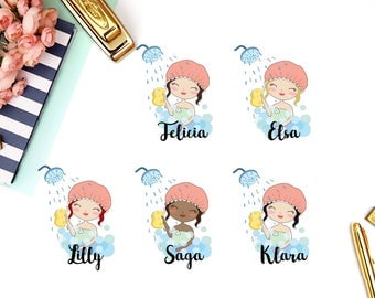 Shower, Wash Hair, Bath | Girl (matte planner stickers, perfect for planners)