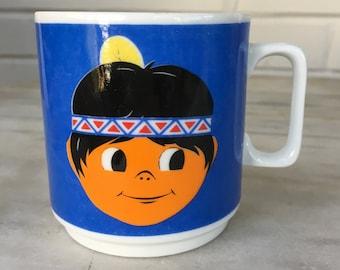 Vintage Johann Seltmann Vohennstrauss Bavaria Native Indian Boy child's cup mug, made in Germany, child's cup
