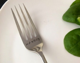 Hangry, Personalised Fork, Gift Idea, Hand Stamped Fork, Choose your own text