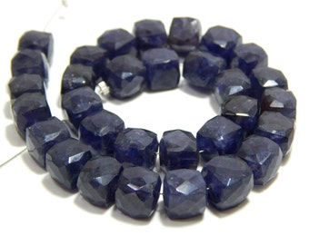 55 Percent OFF Iolite 3D Cube Faceted Beads Box Shape 100% Natural Gemstone Size 8 mm Approx.