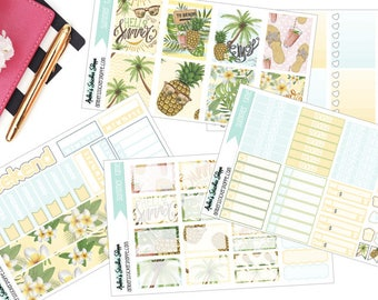 Summer Time Weekly Kit for ECLP Vertical Planner Stickers