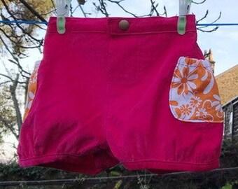 Girls pink shorts, girls bubble shorts, girls shorts, girls winter shorts, girls party shorts, girls corduroy shorts, toddler shorts