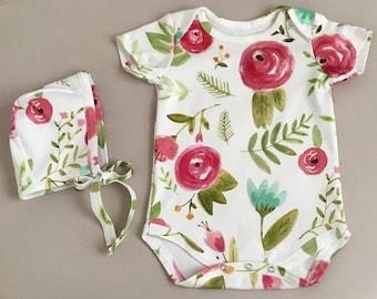 Happy floral baby organic onesie // organic bodysuit // baby floral