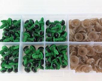 50 pares de Ojos de seguridad, 9 mm VERDE - 50 pairs of 9 mm Safety eyes GREEN color- amigurumi safety eyes-Making dolls-Handmade toys-